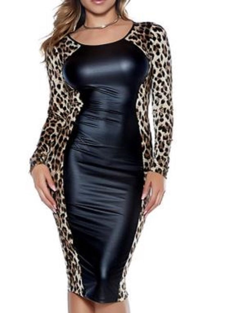 27405a66b31 Latex Look and Leopard Skin Look Bodycon Dress Long Sleeves Very Slimming   fashion  clothing