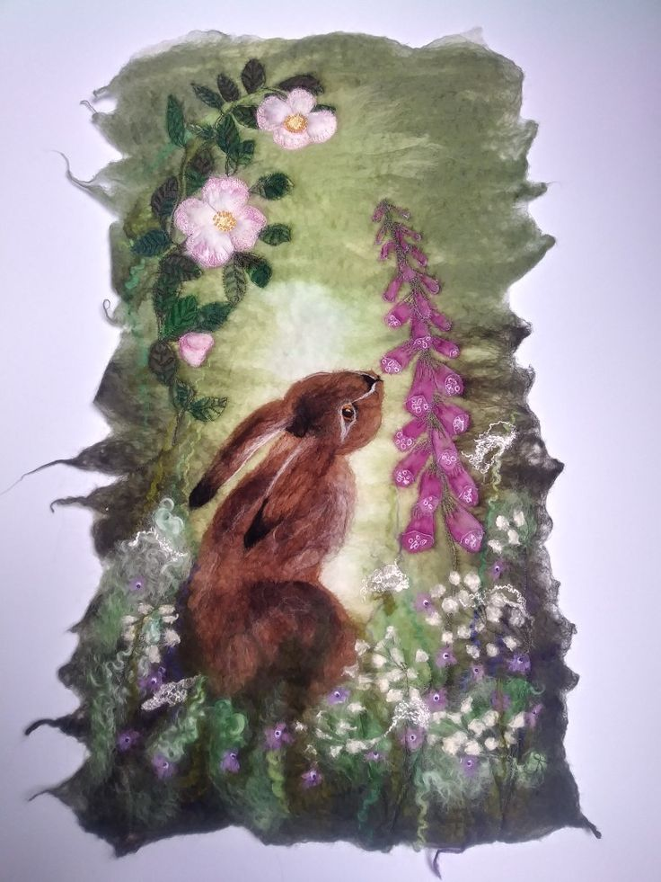 """""""The hare and the foxglove"""" wet felted with embroidery by Cathie Palmer (Felt Isle)"""