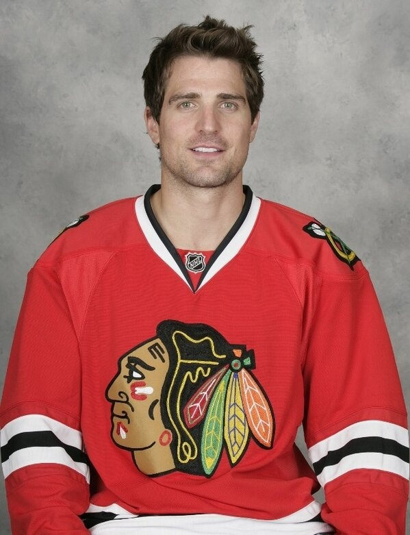 "Blackhawks. Patrick sharp.  I thought I heard the announcer say ""shart"" and started laughing and asked my son if he just said what I thought I heard.  He was laughing so hard he could hardly tell me his ""real"" name."