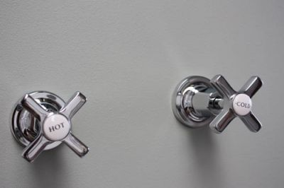Concealed Stop Tap with Art Deco Tapheads