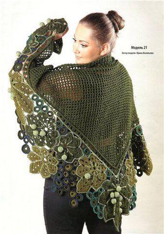 basic triangular shawl with free-form irish crochet lace motifs