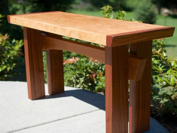 Custom Made Asian Inspired Mahogany And Cherry Hardwood Slab Bench
