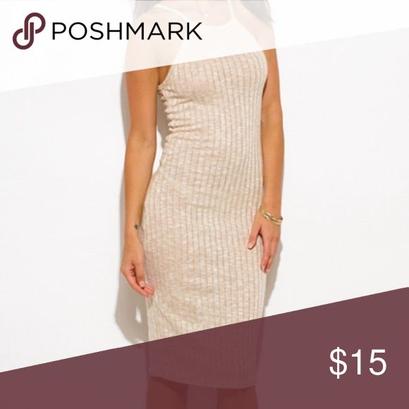Dress Khaki Beige Ribbed Knit Halter Racer Back Sweater Mini Dress Dresses Mini