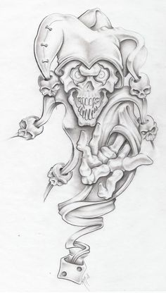 Clown Tattoo Drawing Designs | evil jester II by markfellows