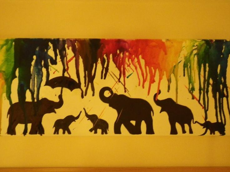 Finished! Melted crayon picture, elephants in the rain.