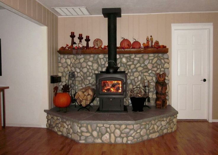 AFTER - raised stone hearth, varnished split tree mantle, shortened smoke  stack on wood - 17 Best Woodburner Images On Pinterest Wood Burning Stoves, Wood