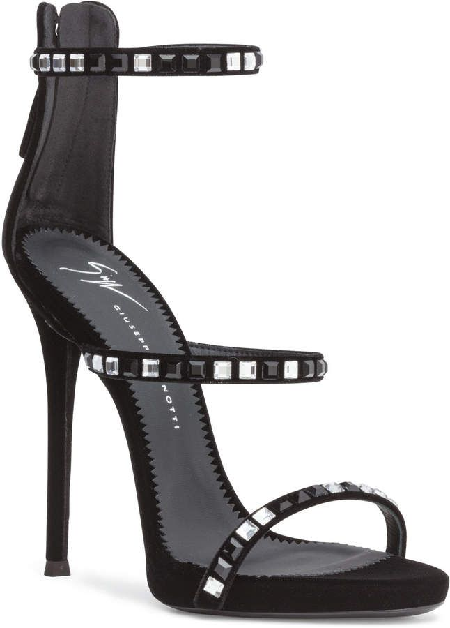 738c117518b74 Giuseppe Zanotti Harmony 110 black velvet with crystals sandals Giuseppe  Zanotti Heels, Black Velvet,
