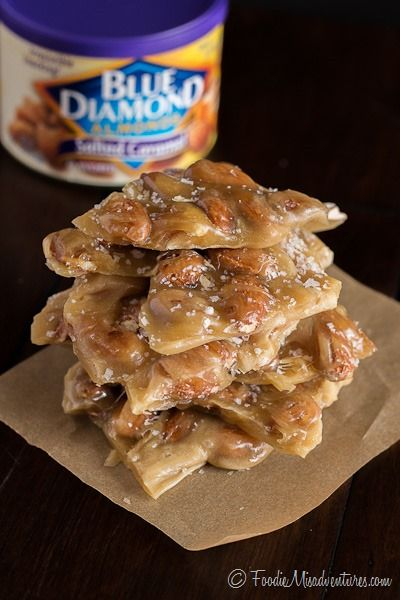Salted Caramel Almond Brittle - Sweet and crunchy almond brittle with a hint of salt and decadent caramel flavors
