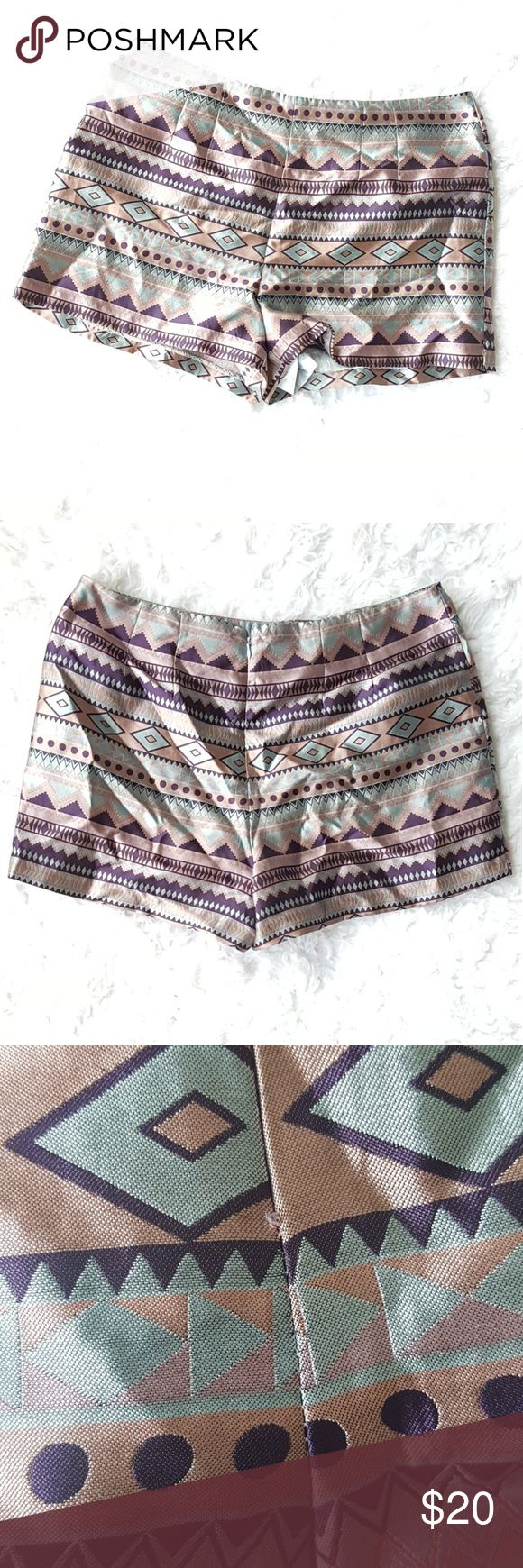 Forever 21 Tribal Print High Waister Shorts Forever 21 High Waister Shorts with zipper on the back side. Has a slight pulling on the back side but is not overly noticeable see picture number 3. Material makeup is 100% polyester. Forever 21 Shorts