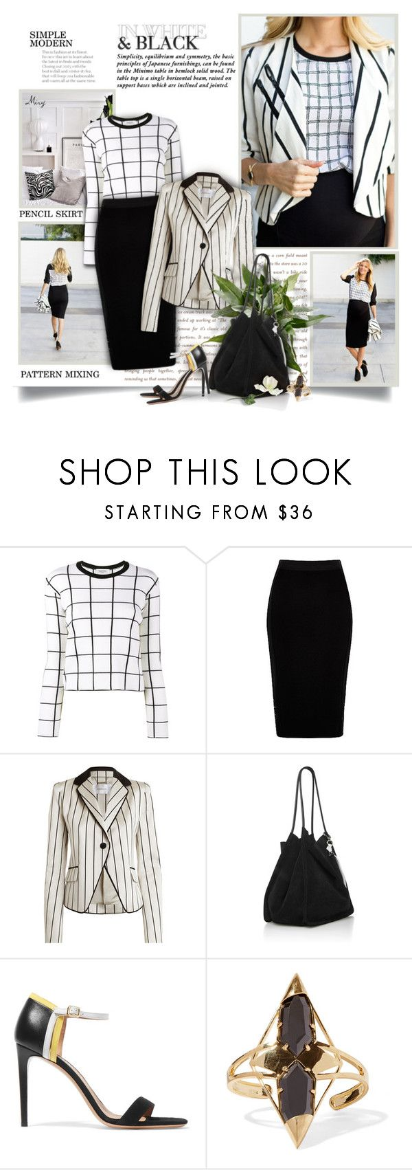"""In White & Black"" by thewondersoffashion ❤ liked on Polyvore featuring Prada, Valentino, Zimmermann, Proenza Schouler, Salvatore Ferragamo and Noir Jewelry"