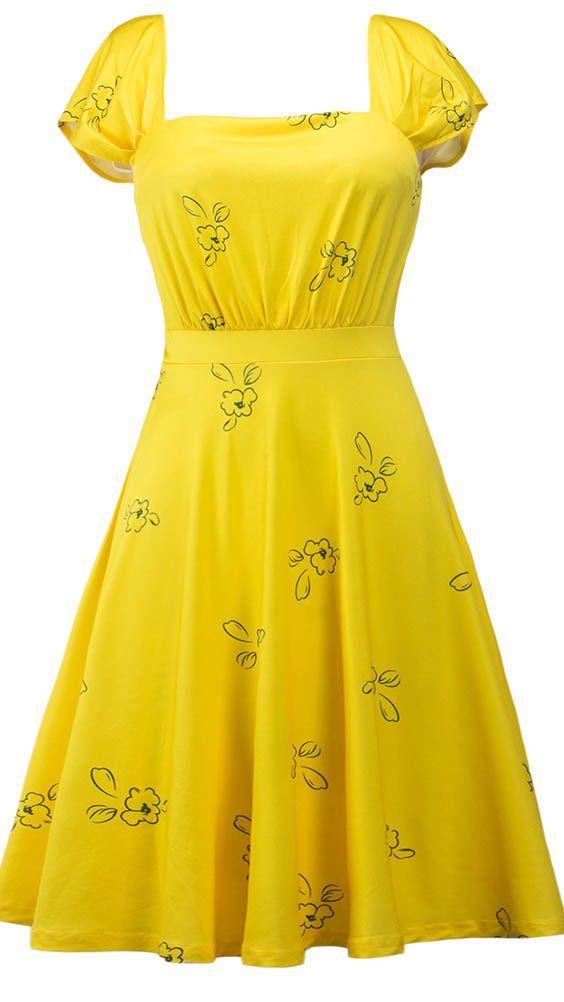 Square Neck Printed High Waist Dress