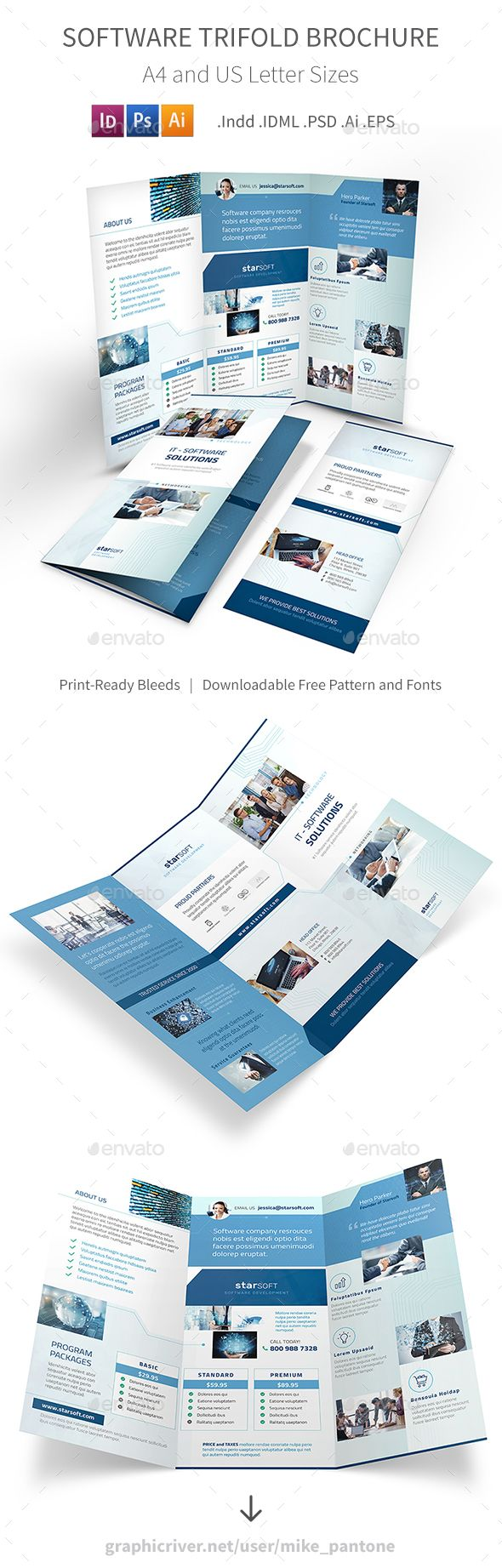 Software Business Trifold Brochure Template PSD, Vector EPS, InDesign INDD, AI Illustrator