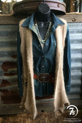 The Marshall – silky soft vest with crocheted details from Savannah Sevens Western Chic