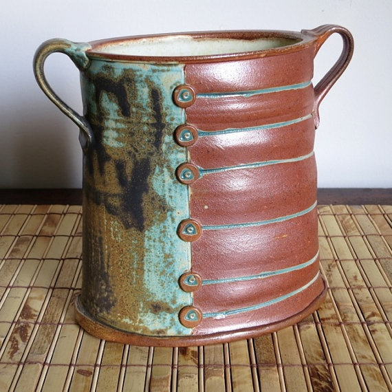 Oval Salt Fired Utensil Holder by mdpottery on Etsy, $45.00 |Pinned from PinTo for iPad|