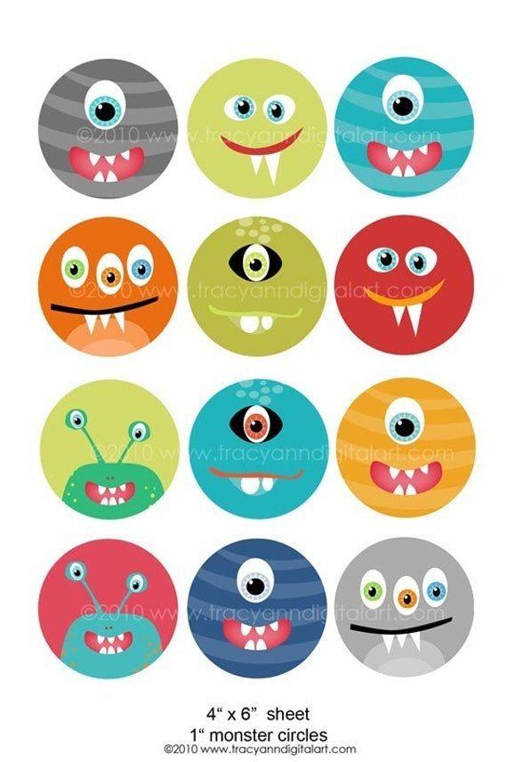 Articulos Similares A Imprimible 1 Pulgada Circulo Digital Collage Hoja De Monstruos 4 X 6 Pul Monstruos Infantiles Cumpleanos De Monstruos Fiesta De Monstruos