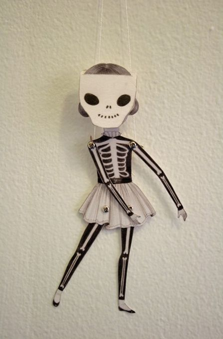 Articulated paper doll by Amy Earles - skeleton suit: