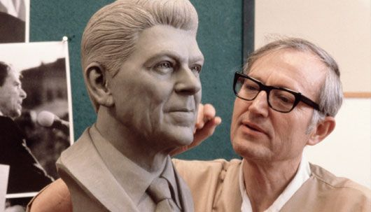 Blaine Gibson. Walt Disney Imagineer. Sculpted the Abraham Lincoln animatronic as well as the Walt and Mickey tribute statue found in the Hub at Disneyland. He also directed the sculpture of every U.S. President up to George W. Bush in 2001 for The Hall of Presidents at Walt Disney World.