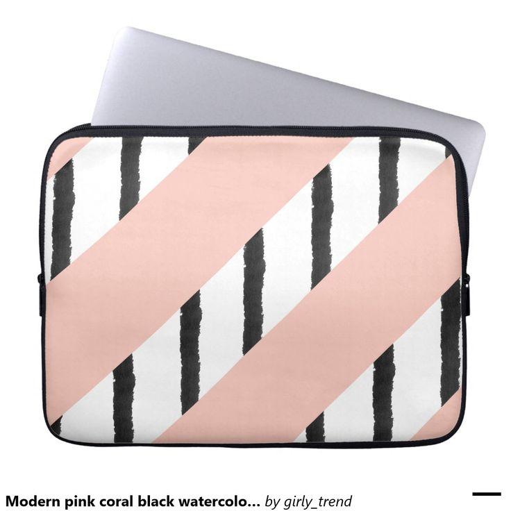 Modern pink coral black watercolor stripes pattern laptop sleeves