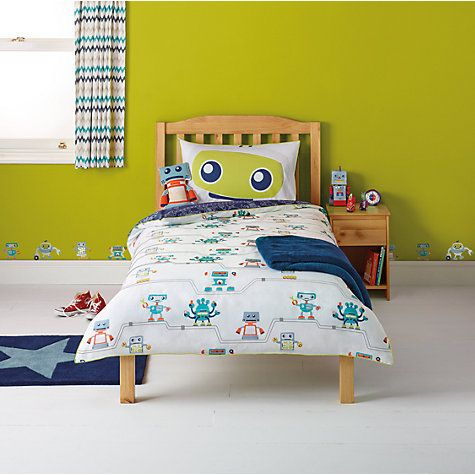 Buy little home at John Lewis Robotica Reversible Robots and Pipes Single Duvet Cover and Pillowcase Set Online at johnlewis.com