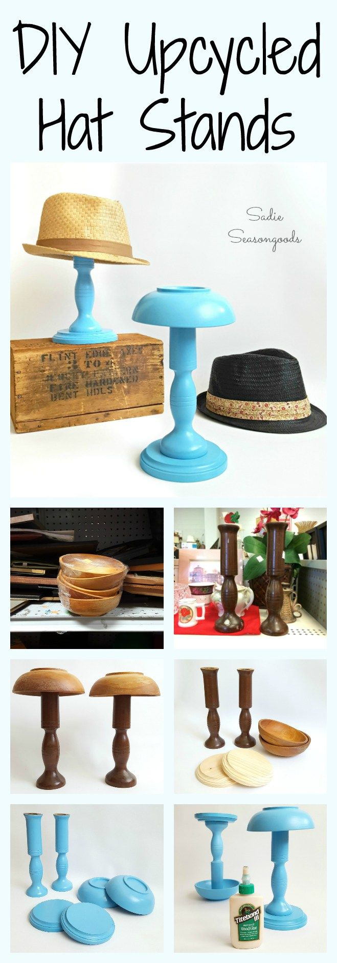 DIY Hat StandI really like this decorative and practical DIY Hat Stand. To make this hat stand, all you need is a candlestick, bowl, and wooden plaque. Find the tutorial for DIY Hat Stand from Sadie Seasongoods here.
