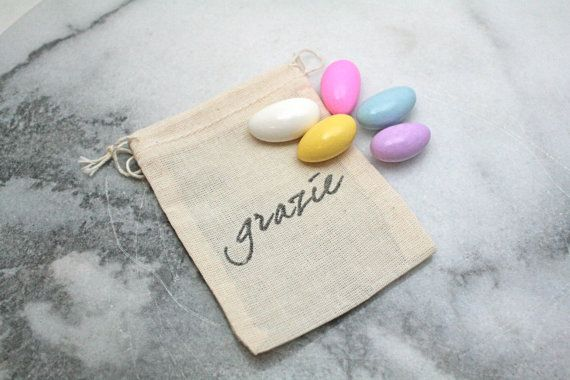 """Wedding mini favor bags, muslin, 2x4. Set of 50. Italian """"Grazie"""" in black on natural white cotton. Perfect for customary sugared almonds., $50.00"""
