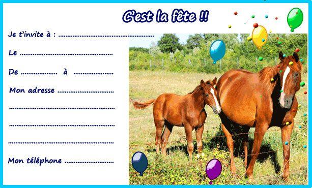 invitation anniversaire cheval a imprimer | Invitation anniversaire, Carte invitation anniversaire
