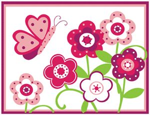 BUTTERFLY FLOWER GARDEN PINK GREEN BABY GIRL NURSERY WALL BORDER STICKERS DECALS