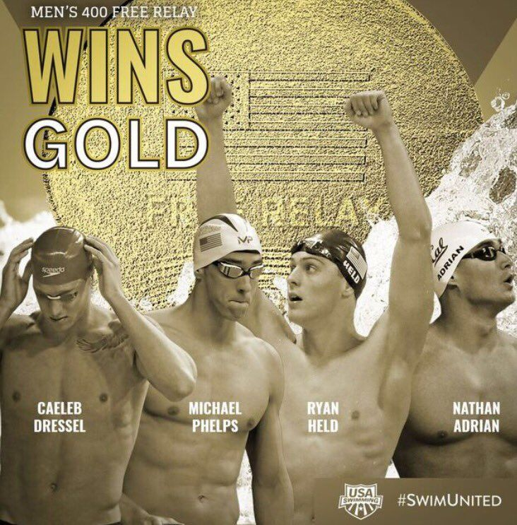 U.S. Olympic Team Retweeted USA Swimming @USASwimming Aug 7 #GOLD for #TeamUSA in the 400 FR-R! Congratulations! #SwimUnited #TeamUSA Caeleb Dressel, Nathan Adrian, Ryan Held and Michael Phelps
