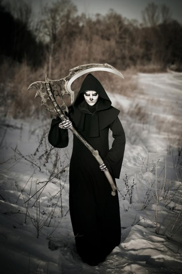 An awesome Grim Reaper costume.