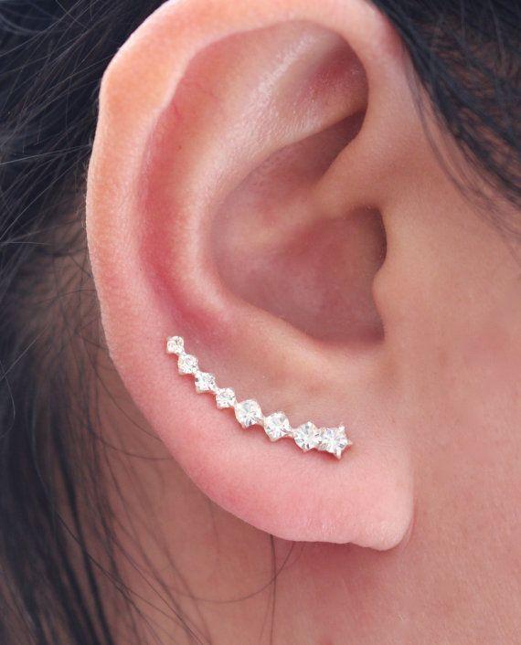 Sterling Silver Ear Crawler, Cubic Zirconia Ear Crawler, Ear Climber, Ear Cuff, Crystal Earring, Wedding earrings, Bride earrings, Ear Sweep