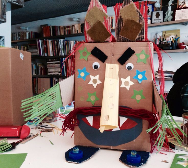 Monster Mask built by children during a workshop in my atelier