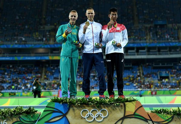 (L-R) Silver medalist, Jared Tallent of Australia, gold medalist, Matej Toth of Slovakia, and bronze medalist Hirooki Arai of Japan, pose on the podium during the medal ceremony for the Men's 50km Race Walk on Day 14 of the Rio 2016 Olympic Games at the Olympic Stadium on August 19, 2016 in Rio de Janeiro, Brazil.