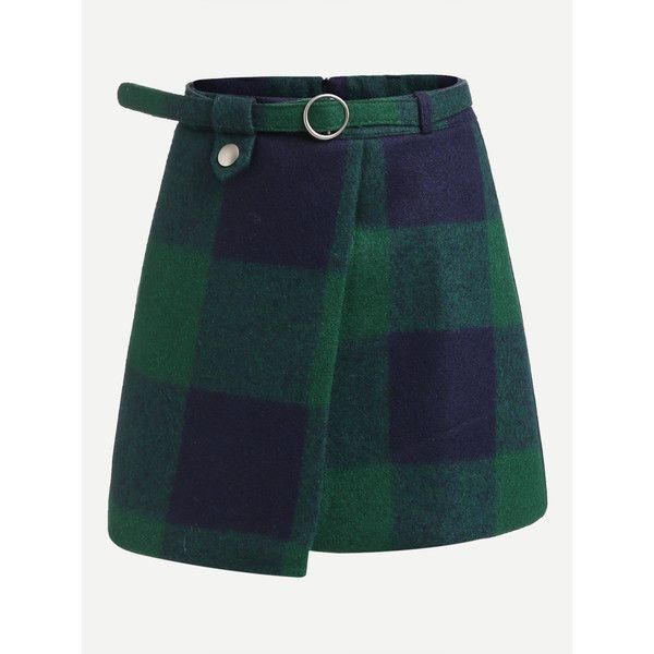 Plaid Asymmetrical Front Layer Skirt (£7.38) ❤ liked on Polyvore featuring skirts, multicolor, multi color skirt, multicolor skirt, above the knee skirts, colorful skirts and belted skirt