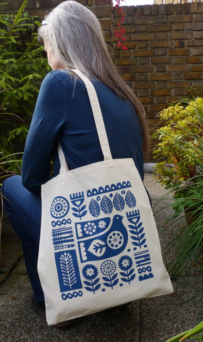 New photo of me wearing my Scandinavian Bird Tote Bag, which I designed and screen printed myself at home. franwooddesign.folksy.com