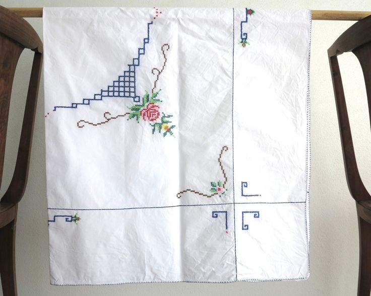 Hand embroidered square tablecloth with cross stitched flowers and blanket stitched hem, , 50 inches / 127 cm square, mid 20th century by CardCurios on Etsy