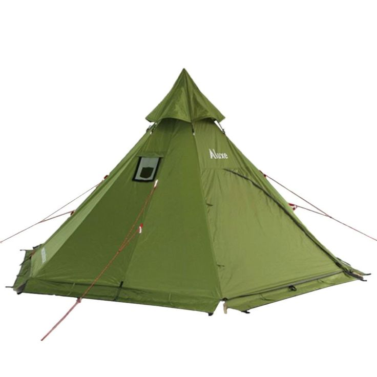 Camping teepee tent with a wood stove jack in cold winter weather