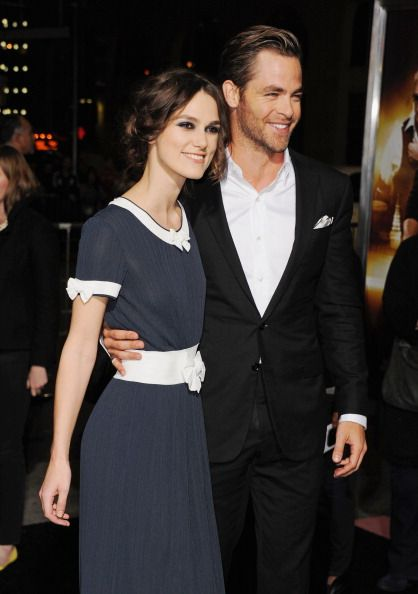 """Actors Keira Knightley and Chris Pine attend the premiere of Paramount Pictures' """"Jack Ryan: Shadow Recruit"""" at TCL Chinese Theatre on January 15, 2014 in Hollywood, California."""