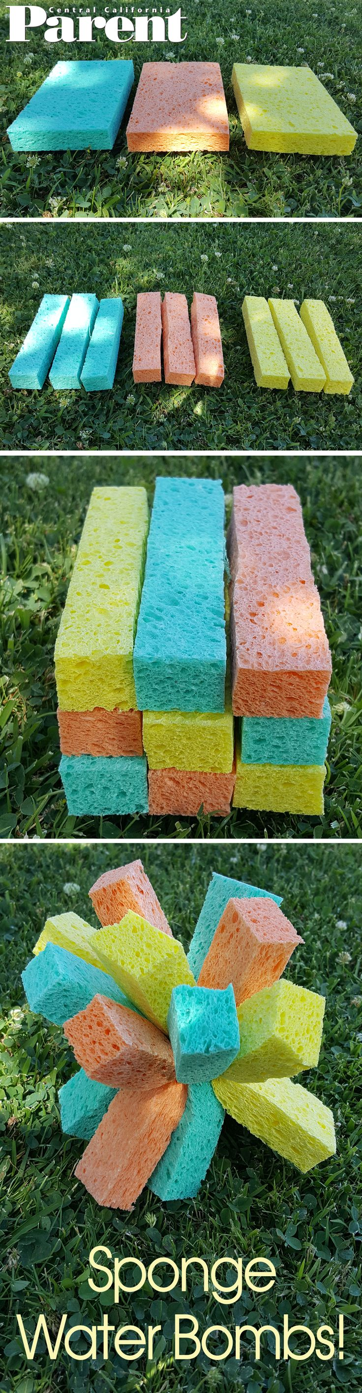Sponge Water Bombs! These water bombs are quite possibly the easiest thing you will make all year! Make a few to play toss or make a bunch and have an all out water war! | Central California Parent