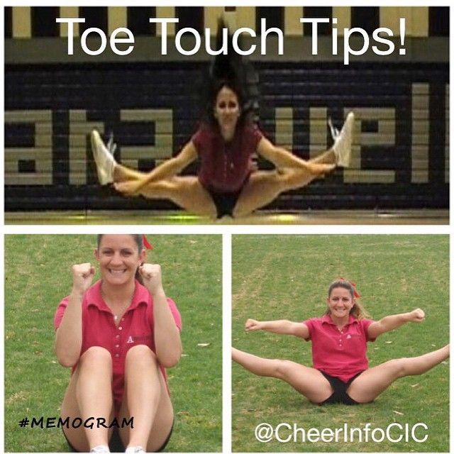"Do you want to improve your toe touch? Here is a quick exercise that will help: One great exercise for the toe touch is to sit on the ground with your legs in a tuck jump position. Lean back, into your ""sitting"" position, and do your toe touch jump on the ground. Yes, you should feel this in your quadricepts (the muscle on the front of your thigh). Repeat 3 to 5 times. For more jump exercises check out the new post on CheerleadingInfoCenter.com"