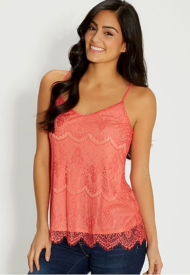 lace cami in coral pop (original price, $24) available at #Maurices