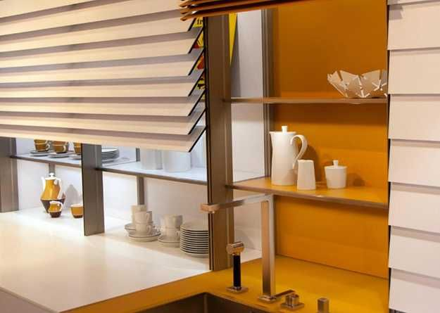 Contemporary Kitchen Trends Bring Blinds for Shleves and Artworks into Modern Kitchens