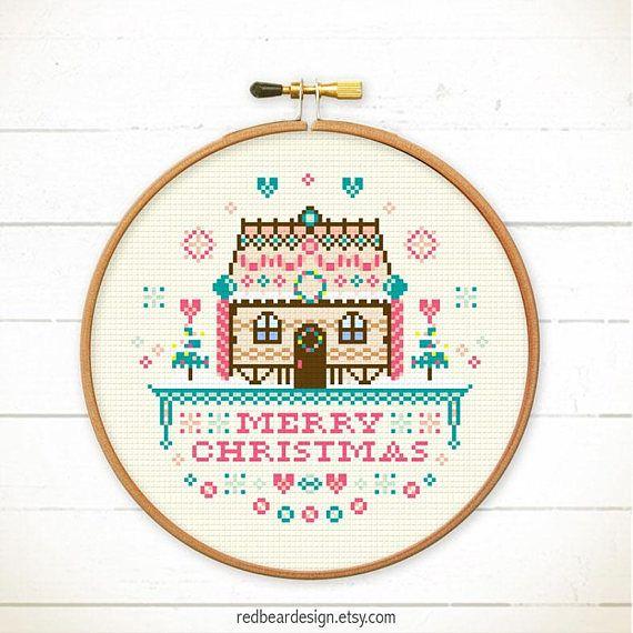Christmas house cross stitch gingerbread house cross stitch