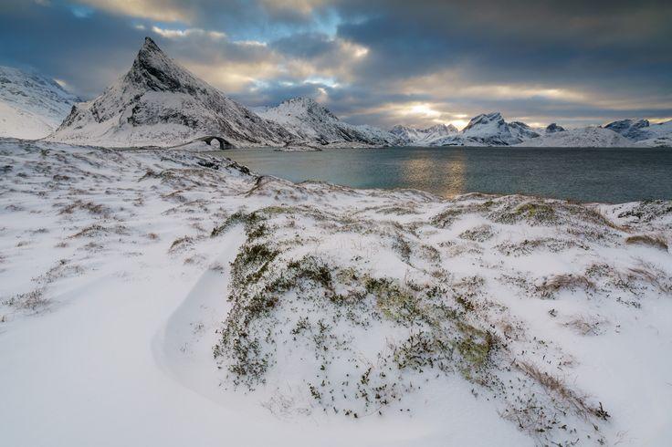 Fredvang Bridges Lofoten Islands - Just before the next snow storm hit us.  A very windy location.