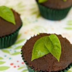 Vegan Chocolate Cupcakes with Basil