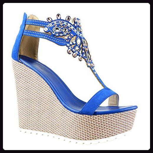 Angkorly - damen Schuhe Sandalen - T-Spange - Plateauschuhe - Schmuck - bestickt Keilabsatz high heel 13 CM - Blau 168-1 T 39 - Sandalen für frauen (*Partner-Link)