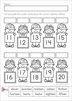 Kindergarten Valentine's Day Math and Literacy Worksheets & Activities No Prep. A page from the unit: number-word match