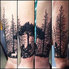 All the way around the arm! (Bridget Punsalang- Henna and tattoo artist) Tags: original trees black color art nature silhouette tattoo female forest square artwork colorful unique originalartwork awesome deer squareformat wrist custom talented realism blackwork detailed coverup tattooartist cliftonpark albanyarea naturebased capitaldistrict customartwork customtattoo needlewurks femaletattooartist iphoneography instagramapp uploaded:by=instagram