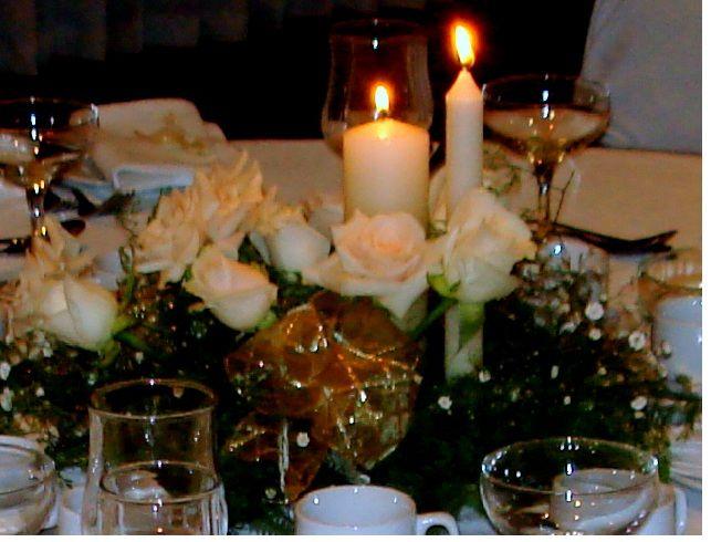Rosas, cintas y velas...romantico