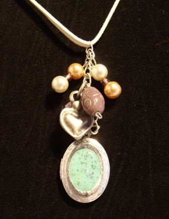 Necklace Green Locket and charms