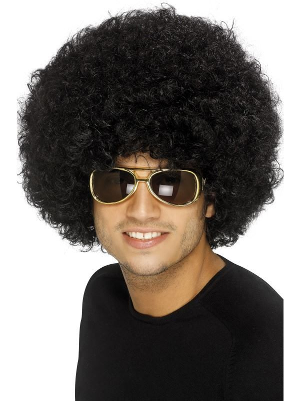 Adult Short Brown Curly 70s 80s Player Costume Wig